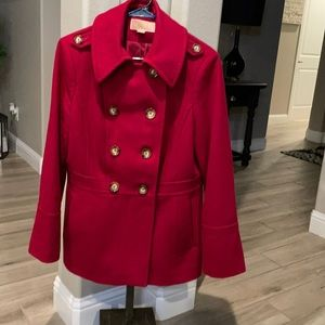 Michael Kors Double Breasted Red Wool Pea Coat.